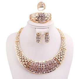 Alloy Nigeria Style Diamante Jewelry Set