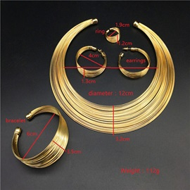 Nigeria Style Golden Hoop Jewelry Set