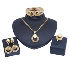 Diamante Golden Nigeria Style Alloy Jewelry Set