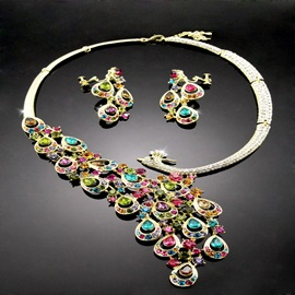 Pretty Phoenix Shaped Alloy with Rhinestone Two Colors Available Wedding Jewelry Set(Including Necklace and Earrings)