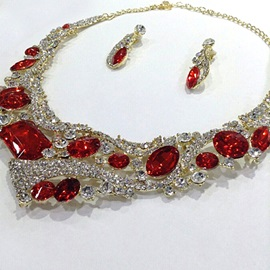 Lustrous Red Rhinestone with Golden Plated Alloy Wedding Jewelry Sets (Including Necklace and Earrings)