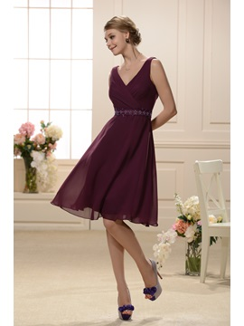 Elegant Cross Over V-neckline Sleeveless Knee Length Bridesmaid Dress