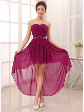 Popular Sweetheart Asymmetry Rhinestone Lace-Up Sashes Bridesmaid Dress