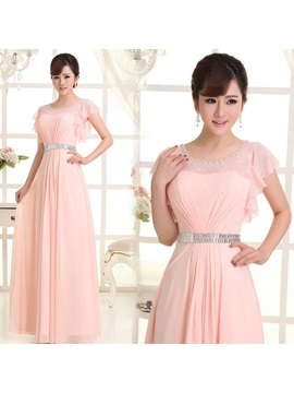 Classic Floor Length Short Sleeves Scoop Neck Sashes Lace Bridesmaid Dress