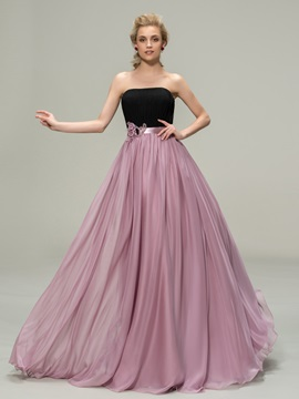 Matching Color Strapless A-Line Flowers Long Bridesmaid Dress