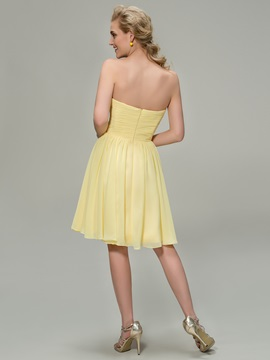 Strapless Sweetheart A-Line Knee Length Bridesmaid Dress