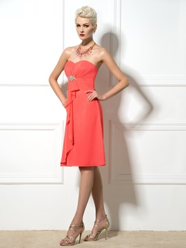 Knee Length A-Line Sweetheart Watermelon Bridesmaid Dress