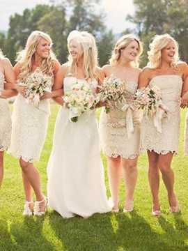 Strapless Sash Column Lace Bridesmaid Dress