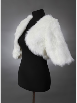 Pure White Half Sleeve Wedding Faux Fur Jacket