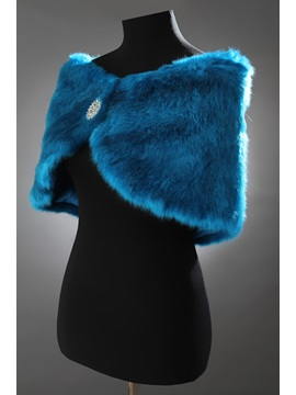 Brilliant Blue Faux Fur Evening Shawl with Rhinestone Brooch