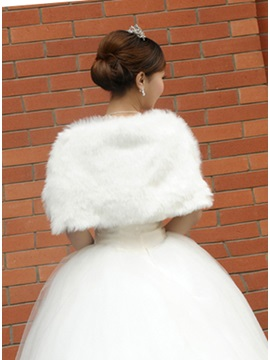 Bowknot Shape Plush Lady's Faux Fur Wedding/Evening Shawl