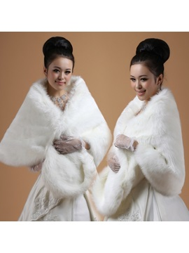 Glamorous Lady's Lengthen and widen Faux Fur Wedding/Evening Shawl