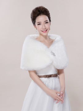 Online Faux Fur Jacket Wedding Shawl for Sale