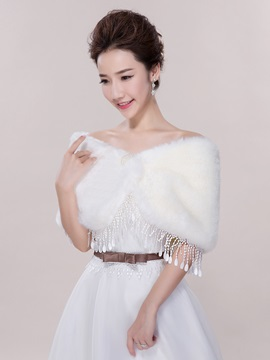 Off the Shoulder Tassel Faux Fur Wedding Shawl
