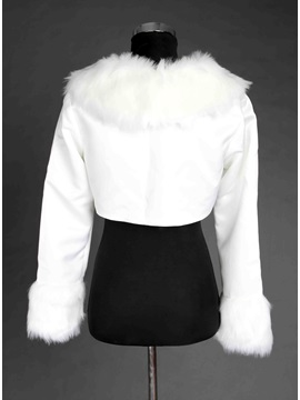 Mysterious Long Sleeve Faux Fur Wedding Jacket