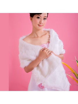 Popular White Long Faux Fur Wedding Shawl(4colors)