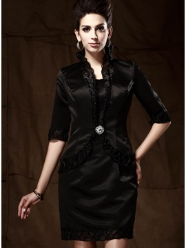 Black Half Sleeve Lady Evening Jacket