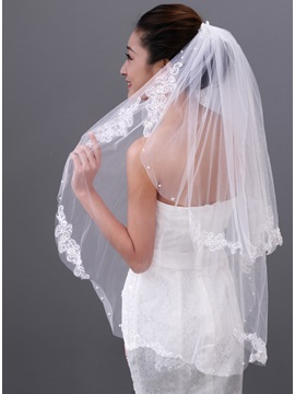 Perfect Tiered Elbow Bridal Veil with Appliques Edge