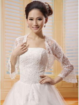 Poet Sleeves Lace Wedding Bolero Jacket with Floral Edge