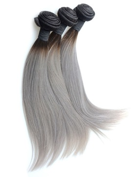 1B/Grey Omber Straight Human Hair Weave 1 PC