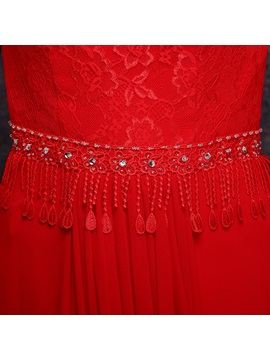 Square Neckline Short Sleeves Lace Long Prom Dress