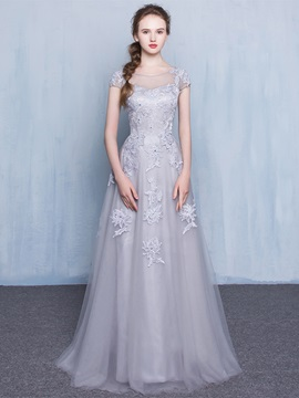 Fancy Sheer Neck Short Sleeves Appliques Tulle Prom Dress