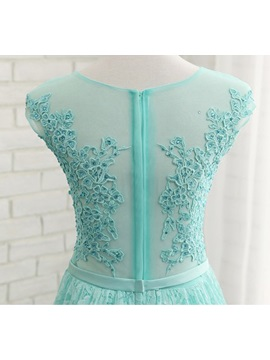 Fancy Sheer Neck Cap Sleeves Lace Prom Dress