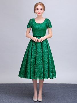Vintage Scoop Neck Short Sleeves Tea-Length Lace Prom Dress