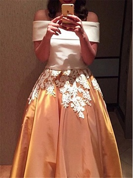 Vintage Off-the-Shoulder Appliques Two Piece Prom Dress
