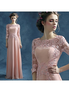 Scoop Neck 3/4 Length Sleeves Appliques Prom Dress