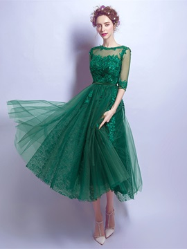 Half Sleeves Appliques Button Tea-Length Prom Dress
