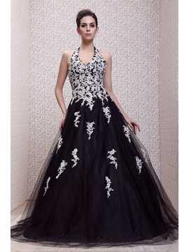Timeless Halter Appliques Floor-Length Backless Taline's Evening/Ball Gown Dress & discount Ball Gown Dresses