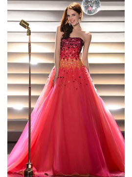 Glimmering Beading&Sequins Floor-Length Strapless Lace-up Quinceanera Dress & modern Ball Gown Dresses