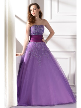Strapless Sequins A-Line Quinceanera Dress