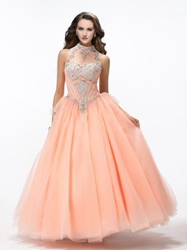 Gorgeous High Neck Beading Bowknot Floor-Length Lace-up Quinceanera Dress & Ball Gown Dresses under 500