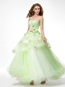 Dramatic Sweetheart Flowers Tiered Beading Floor Length Lace-up Quinceanera Dress & informal Ball Gown Dresses