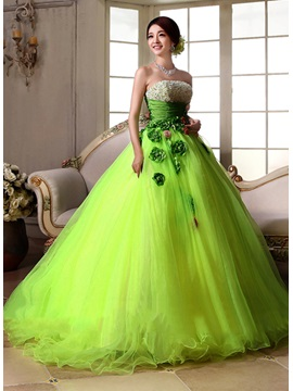 Glamorous Strapless Sequins Beading Flowers A-Line Quinceanera Dress & Ball Gown Dresses under 500