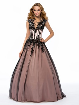 Vintage Feathers/Fur Deep V-Neck Appliques Long Quinceanera Dress & attractive Ball Gown Dresses