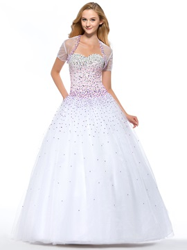 Luxurious A-Line Sweetheart Sequins Beading Lace-up Floor-Length Quinceanera Dress With Jacket/Shawl & Ball Gown Dresses for less