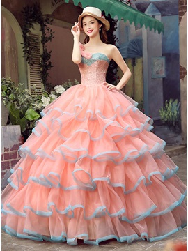 Dramatic One-Shoulder Flowers Lace Beading Tiered Lace-up Quinceanera Dress & amazing Ball Gown Dresses