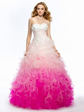 Fine Sweetheart Strapless Beading Ruffles Flowers Long Quinceanera Dress & Ball Gown Dresses on sale