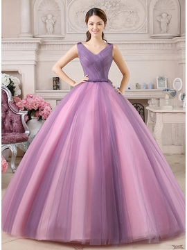 A-Line V-Neck Appliques Tulle Back Floor-Length Quinceanera Dress & Ball Gown Dresses 2012