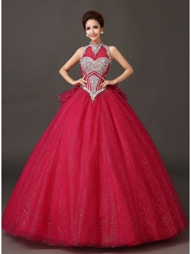 Dramatic Jewel Neckline Beading A-Line Bowknot Lace-up Long Quinceanera Dress & Ball Gown Dresses online