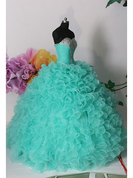 Dramatic Ball Gown Sweetheart Cascading Ruffles Beading Lace-up Quinceanera Dress & elegant Ball Gown Dresses