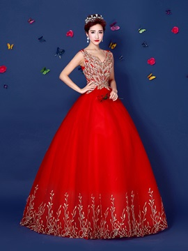 Amazing V-Neck Embroidery Beaded Lace-up Long Quinceanera Dress & petite Ball Gown Dresses