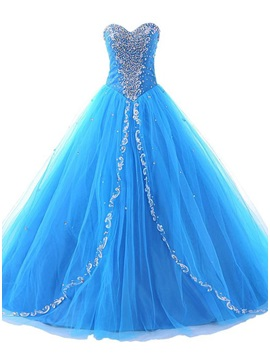 Glamorous Sweetheart Beaded Appliques Lace-up Long Quinceanera Dress & Ball Gown Dresses online