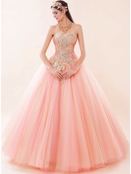 Exqusite Beaded Sweetheart Appliques Lace-up Ball Gown Quinceanera Dress & Ball Gown Dresses under 300