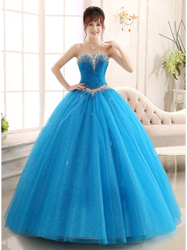 Attractive Sweetheart Ruched Beaded Ball Gown Lace-up Quinceanera Dress & Ball Gown Dresses for less