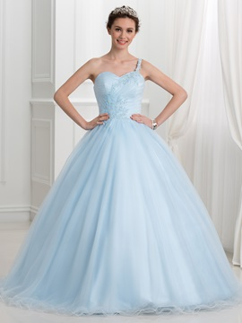 Fancy One Shoulder Appliques Beading Ball Gown Quinceanera Dress & formal Ball Gown Dresses