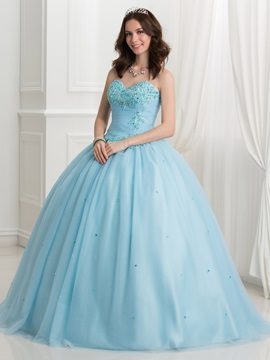 Appliques Beaded Sweetheart Ball Gown Quinceanera Dress